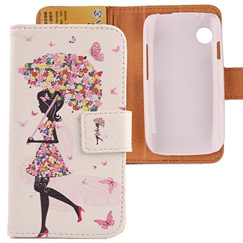 Lankashi PU Flip Leder Tasche Hülle Case Cover Schutz Handy Etui Skin Für Wiko Ozzy Umbrella Girl Design
