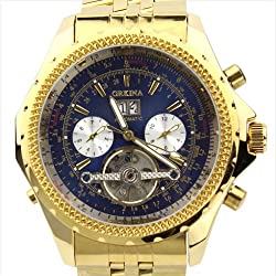 Orkina Gold Color Case Blue Chronograph Skeleton Dial Stainless Steel Wrist Watch KC082SGB