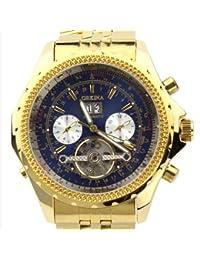 ORKINA Dorado Funda De Color Azul Cronógrafo Esqueleto Dial Acero inoxidable reloj de muñeca kc082sgb