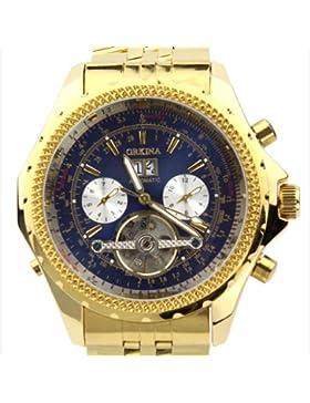 Orkina Herren-Armbanduhr Chronograph im Skelettuhrenstil Edelstahl KC082SGB goldfarbenes Gehäuse