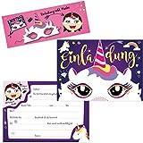 Oblique Unique® 6 Einladungskarten - Einhorn Party zum Ausschneiden Einhorn Maske Geburtstag Jungen Mädchen Kinder Karten Set