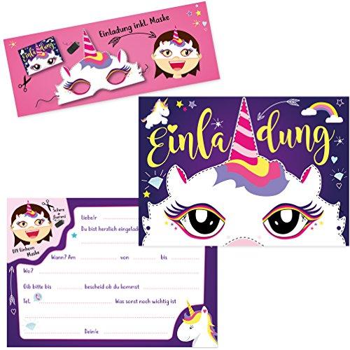 Oblique-Unique® 6 Einladungskarten - Einhorn Party zum Ausschneiden Einhorn Maske Geburtstag Jungen...
