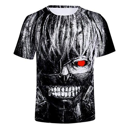 CHENMA Hommes Tokyo Ghoul 3D Imprimer Pull à Manches Courtes T-Shirt Regular Fit