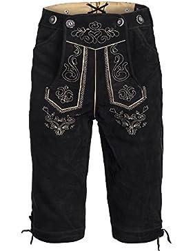 Trachten Lederhose Kniebundhose mit Trägern aus Rindveloursleder Schwarz Gr. 46-60