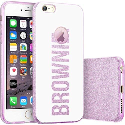 finoo | iPhone 6 / 6S Lilane bedruckte Rundum 3 in 1 Glitzer Bling Bling Handy-Hülle | Silikon Schutz-hülle + Glitzer + PP Hülle | Weicher TPU Bumper Case Cover | Pusteblume Brownie White