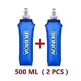 AONIJIE 2PCS Pieghevole 250 ml/500ml TPU Outdoor Sport Acqua Idratazione Bottiglia Soft Flask per corsa, Bicicletta, Campeggio, Escursionismo (500ML)