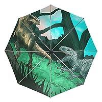 COOSUN Ancient Dinosaurs Automatic 3 Folding Parasol Umbrella