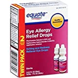 2 Pack Equate Eye Allergy Relief Drops Itching and Redness Reliever