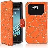 Seluxion - Etui de Protection et Porte-Carte Style Diamant Universel S Couleur Orange pour Logicom L-ement 403