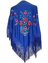 La Señorita Mantones bordados Flamenco Manton de Manila azul royal flores de colores