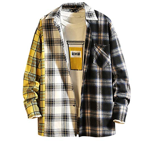 UINGKID Herren Shirt Langarm Slim Casual Fashion Plaid Druck Patchwork Revers Top Bluse - Patchwork-plaid Shirt