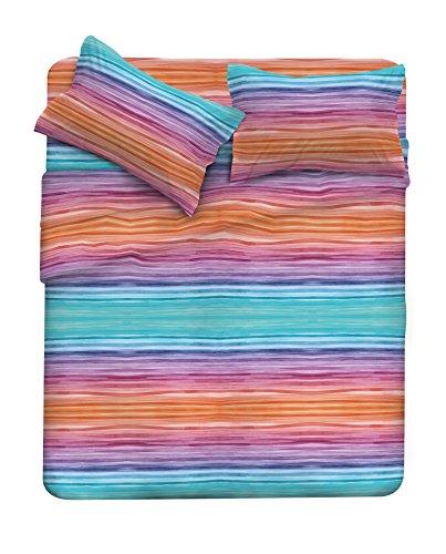 Fantasy completo letto, microfibra, rainbow, matrimoniale, 3 unità