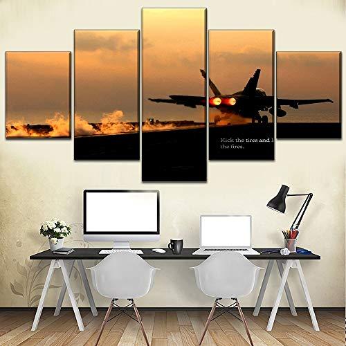 kesfh 5 stück Flugzeug f18 nimmt modulare Stil Bild wandkunst dekorativ für büro oder Schlafzimmer Moderne top bewertet leinwand drucken-Frame (F18 Flugzeug)