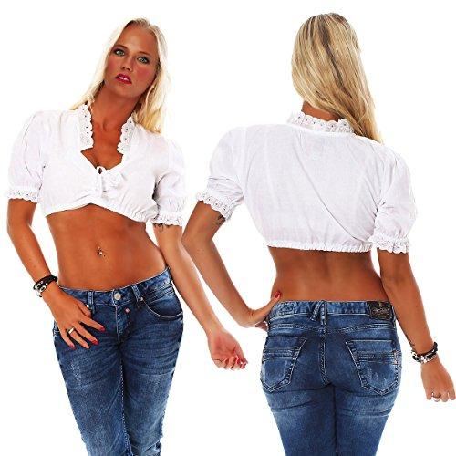 10605 Fashion4Young Damen Dirndlbluse Bluse Trachtenbluse Dirndl Trachten  Oktoberfest Trachtenkleid Weiß fd8570ea00