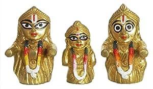 DollsofIndia Jagannath, Balaram and Subhadra - Brass Statue - 4 inches (LF34)