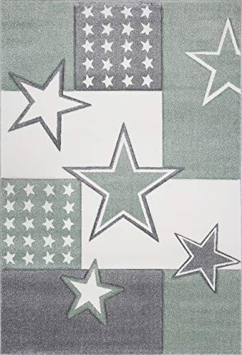 Livone Kuschelweicher Kinderteppich Jugendteppich Sternenteppich Felder Stern in grün Silber grau anthrazit Weiss Größe 160 x 220 cm -