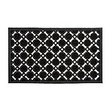 Relaxdays - Felpudo Rectangular Decorativo para la Entrada del hogar, 0.5 x 75 x 45 cm, Hecho de Caucho/Goma, Antideslizante, Color Negro