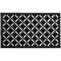 Relaxdays 10020193  Paillasson en caoutchouc antidérapant tapis de sol porte entrée avec motif grille résistant aux intempéries L x l 75 x 45 cm noir