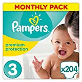 Pampers Premium Protection Nappies Monthly Saving Pack – Size 3, Pack of 204