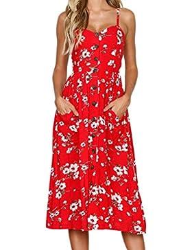 BBsmile Vestidos de mujer,Vestidos Mujer Casual,Mujeres Vacaciones Rayas Damas Verano Playa Botones Vestido de...