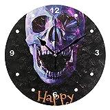 SUNOP Uhr für Kinder mit Öldruck Totenkopf, Halloween, Wanduhren für Wohnzimmer, Schlafzimmer und Küche, Vintage-Stil
