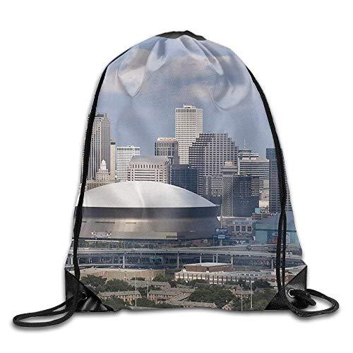 quanzhouxuhuixiefu New Orleans Skyline Gym Beam Port Drawstring Shoulder Travel Canvas Backpack Bag