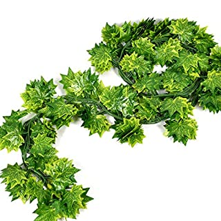 Artificial Plants - 12pcs Set Artificial Plants Red Green Maple Leaf Rattan Home Wedding Scene Party Ceiling Garden - Trees Bedroom Ivy Size Resistant Rectangle 20 Miniature Clear Peace