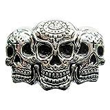 eeddoo Gürtelschnalle - Triple Skull (Buckle für Wechselgürtel für Damen und Herren | Belt Frauen Männer Oldschool Rockabilly Metall Gothic Wave Rock Biker Western Trucker Casino Skull)