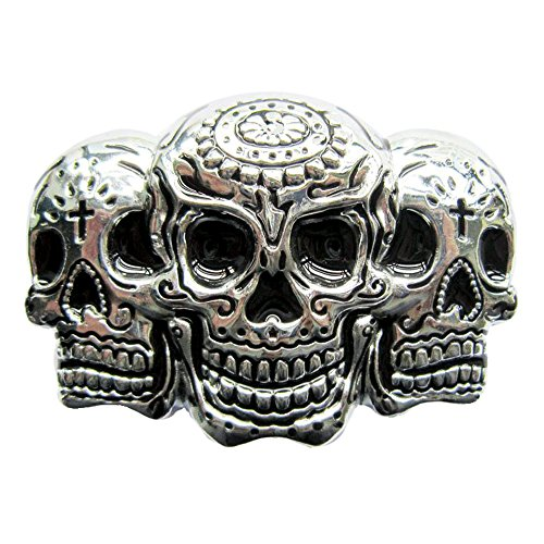 eeddoo® Gürtelschnalle - Triple Skull (Buckle für Wechselgürtel für Damen und Herren | Belt Frauen Männer Oldschool Rockabilly Metall Gothic Wave Rock Biker Western Trucker Casino Skull)