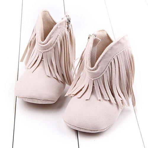 Chaussures de bébé,Transer ® Mode bébé nouveau-né fille Garçon gland chaussures Bottes semelle souples Beige