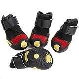 Semoss Für kleinen Hund 4 Set Anti Rutsch Hundeschuhe Wasserdicht Hunde Socken Hunde Schuhe Schwarz Pfotenschutz Hunde Stiefel,Größe:XS,3.6 x 2.8 cm (L x B),für Mini Hunde von 0,5 kg bis 2 kg