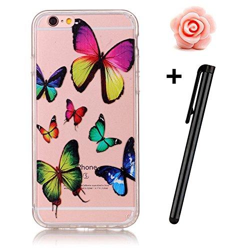 Custodia trasparente per iPhone 5/5S, custodia in gomma trasparente per iPhone SE, marca Toyym, con motivo animale o fiore colorato, per ragazza. Design sottile, realizzato in eco-silicone TPU morbido Colorful Butterfly