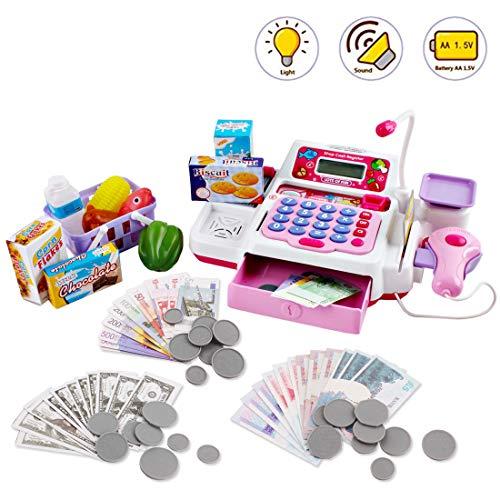 deAO JIN YU Supermarktladen mit Rechenkasse, Scanner, Scheinkreditkarte, Spielzeuglebensmittel ,Spielgeld und Einkaufskorb (PINK)
