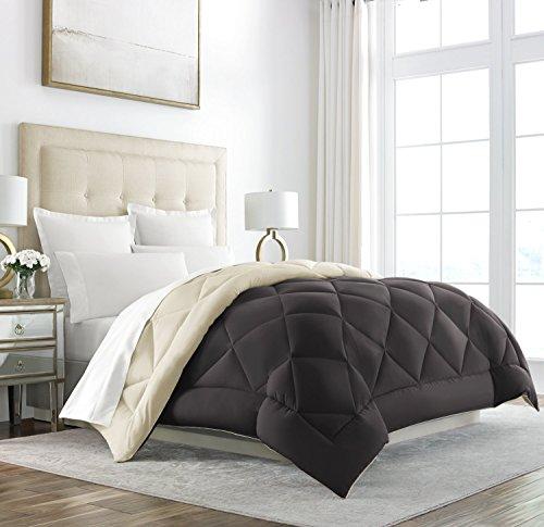 Sleep Wiederherstellung Gänsedaunen Alternative Tröster-wendbar-All Season Hotel Qualität Luxus Hypoallergen Tröster, braun/creme, Twin/Twin XL -