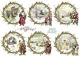 Zita`s Creative Reispapier A4 - Vintage Christmas 2. Motiv-Strohseide, Strohseidenpapier, Decoupage Papier