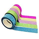 Uesae - Lot de 10 rouleaux de ruban adhésif autocollant - Pour décoration, multicolore - Pour enfant, scrapbooking - 1,5 cmx 3m