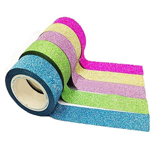 10PCS Wicemoon Papier Washi Adhesif Artisanat Bricolage Autocollant Glitter Motif Masquage Decoratif Scrapbooking (Longueur totale:1.5cm*3m)