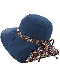 Moda Cappello da Sole Donna Traspirante Estivo Tesa Larga Cappelli Spiaggia  Berretto Protezione UV Visiera Stampare Arco Elegante… 82ec7b74e770