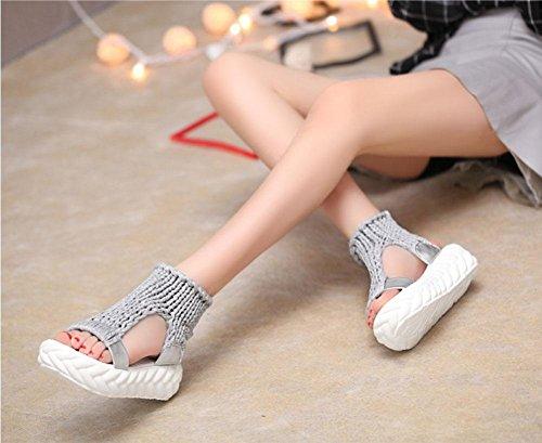 Sandali per le donne nuove caramelle di colore maglia di lana della piattaforma capa dei pesci di tessitura focaccina scarpe sandali scarpe Grey