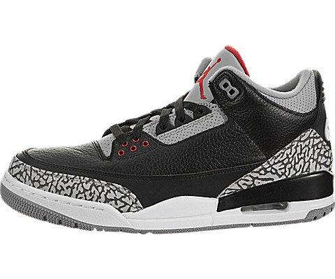 Nike Air Jordan 3 Retro Schwarz Zement Schuhe in Grau und Schwarz Leder 854262-001 (Jordan Schuhe Schwarz Und Grau)