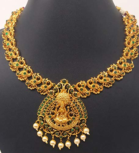 Ineisha Green Stone Studded matt Finish Gold Necklace with Lakshmi Pendant and Earrings