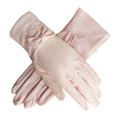 Flywife Damen Braut Hochzeit Spitze Handschuhe Derby Tee Party Handschuhe viktorianischen Gothic Kostüme Handschuhe (Bowknot Rosa)