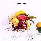 Euro Antik Einfache Art FRESH FRUIT Container Dry Stahl Metall Korb Eisen Draht Organizer Gemüse Rack, Halter Tisch Snackschale Künstliche Display Cool Geschenk rund abgestuftes Bright Gold