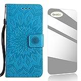Microsoft Lumia 630 Hülle,THRION Lederhülle Handyhülle mit [Frei Schutzfolie],Premium PU Tasche Leder Flip Case Cover Schutzhülle für Microsoft Lumia 630 - Blau