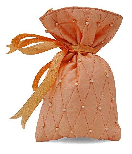 20pesca Satin coulisse favore matrimonio trapuntata Ringraziamento piccolo sacchetto del regalo 4X 6,5pollici, Juta, 100 Bags