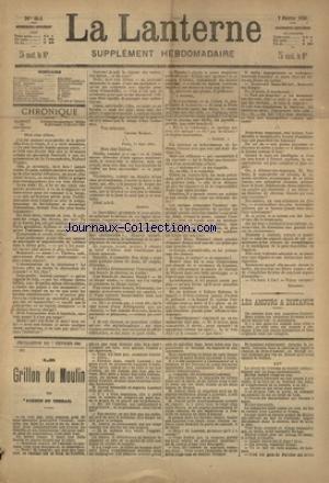 LANTERNE (LA) [No 84] du 06/06/1886 - LES AMOURS A DISTANCE PAR ROQUEPLAN - IDYLLE MANQUEE PAR COPPEE - HISTOIRE DE RECIDIVISTE PAR PIANELLI - L'ESPRIT DES AUTRES PAR CIZOS - AGENCE MATRIMONIALE PAR DUPRE - LA SANTE PUBLIQUE PAR LE DR MARC - FEUILLETON / LE GRILLON DU MOULIN PAR PONSON DU TERRAIL