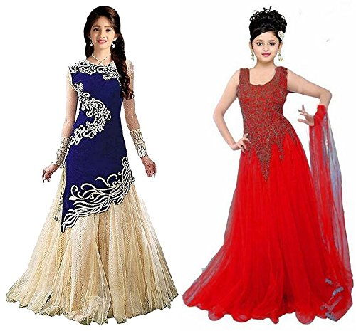 Market Magic World Girl's Blue & Red Velvet, Net Semi Stitched Combo Pack lehenga Choli, Salwar Suit, Gown (Kids Wear_Free Size_8-12 Year age)  available at amazon for Rs.799
