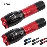 Readaeer Linterna LED , con 5 Modos, un Mejor precio para 2 Linterna calidad--color rojo