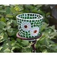 Handgemachtes Windlicht Tiffany grüne Blume 8 cm hoch