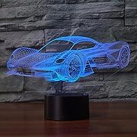 Neuheit Auto 3D Illusion Lampe Led Nachtlicht mit 7 Farben blinkt & Touch-Schalter USB Powered Schlafzimmer Schreibtischlampe für Kinder Geschenke Home Dekoration